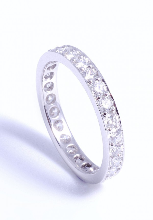Hand made platinum eternity ring pave set diamond all the way around. Jewellery remodeling on site