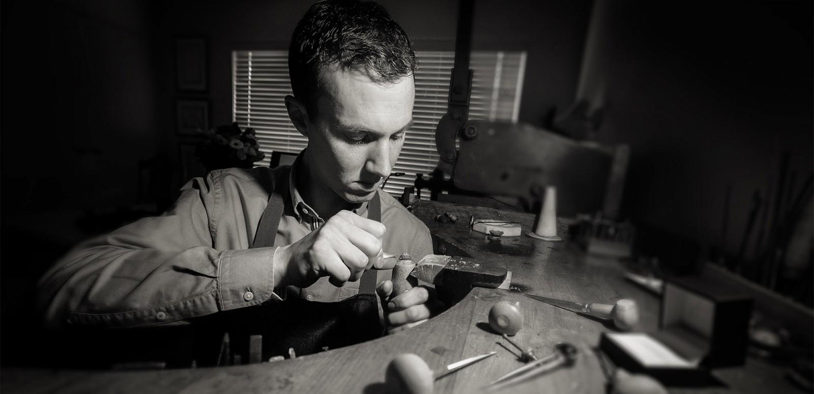 Auckand jewellery designer Julian Bartrom, working on custom made jewellery and custom engagement ring design