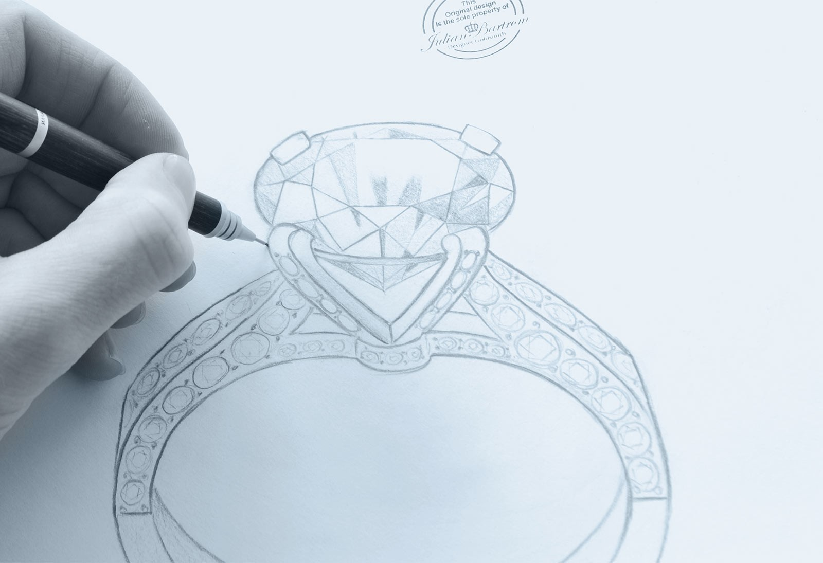 2, Develop the vision. 2ct diamond ring and custom jewellery design with jewellery expert Julian Bartrom.
