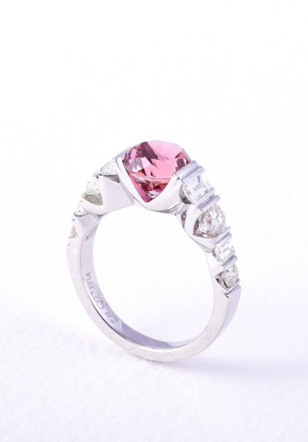 Pink tourmaline and diamond ring in platinum by custom made jewellery designer and diamond expert Julian Bartrom Jewellery.