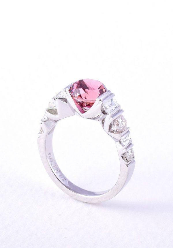 Pink tourmaline and diamond ring in platinum by custom made jewellery designer and diamond expert Julian Bartrom Jewellery.