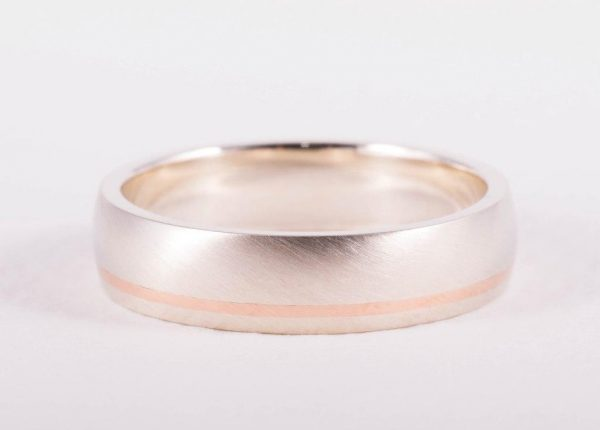 Men's wedding ring in white gold and rose gold inlay Auckland jewellery designer Julian Bartrom Jewellery.