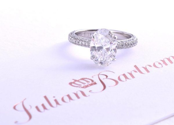 2ct oval diamond engagement ring with Pavé diamonds by Auckland diamond expert Julian Bartrom Jewellery.