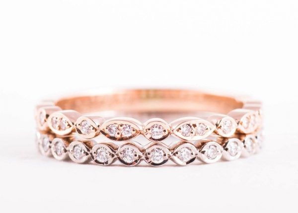 Ladies diamond wedding ring set in platinum and rose gold by Auckland jewellery designer Julian Bartrom Jewellery.