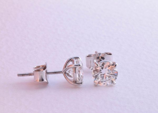 Brilliant cut diamond earrings with martini settings by diamond expert Julian Bartrom from Julian Bartrom Jewellery.