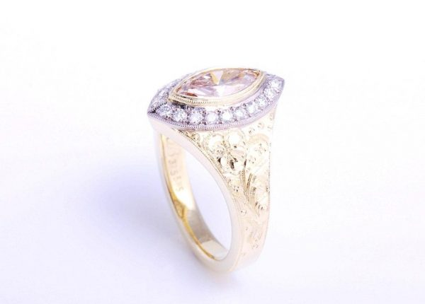 Marquise shape champagne diamond ring with hand engraving, custom made jewellery designer Julian Bartrom Jewellery