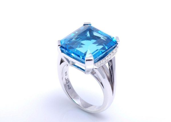 Blue topaz and diamond dress ring in white gold jewellery designer and diamond expert Julian Bartrom Jewellery.