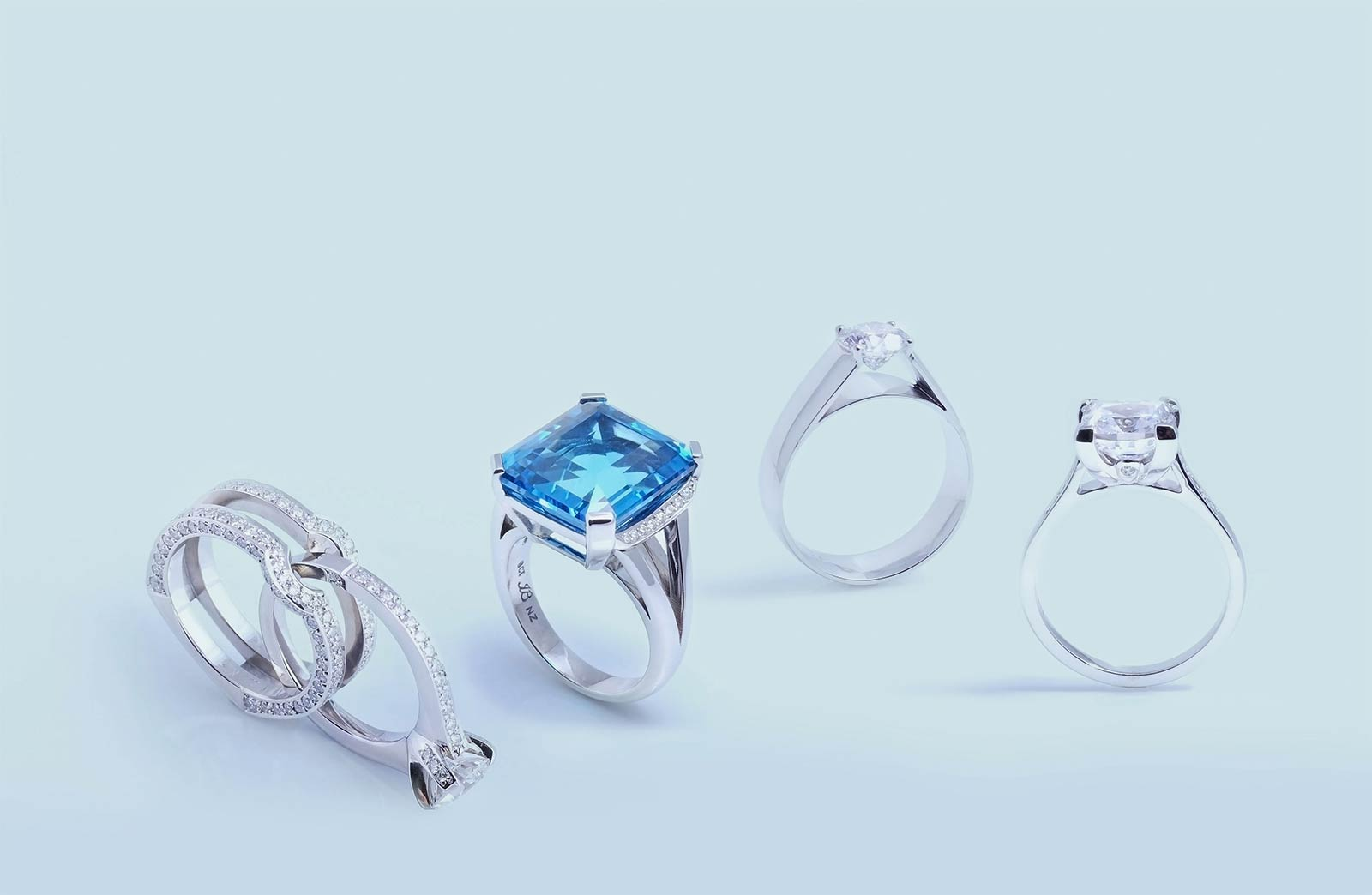Custom made engagement rings and custom made jewellery by Auckland fine jewellery designers Julian Bartrom.