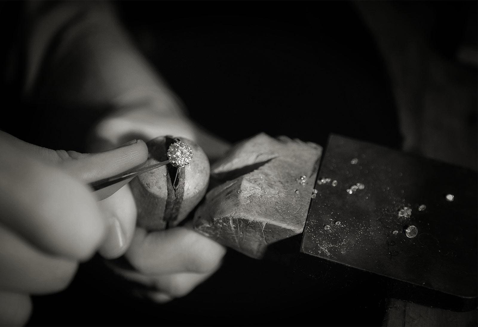 7. Set the stones. Setting a bespoke fine quality diamond ring or item of custom jewellery