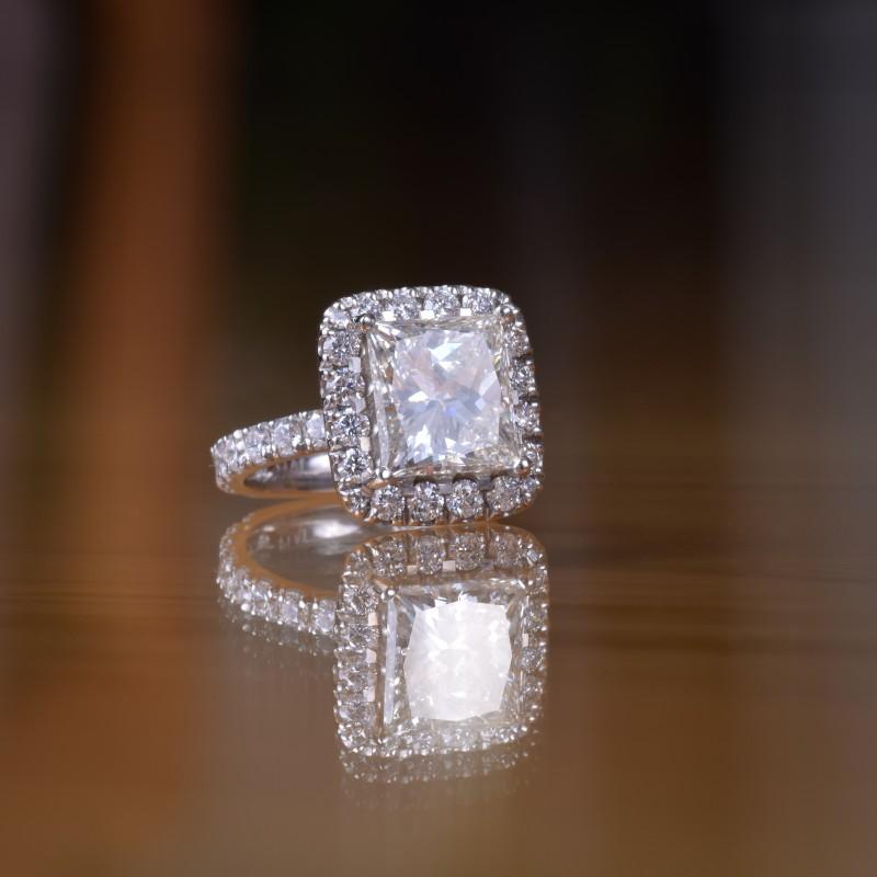 2.63ct princess cut diamond in platinum