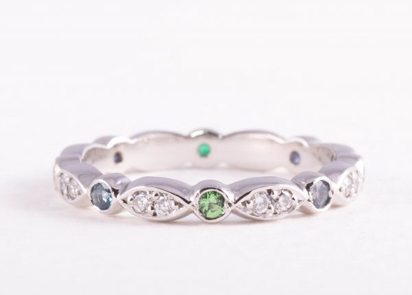 Gemstone and diamond ladies wedding ring, designed and made by award-winning Julian Bartrom Jewellery.