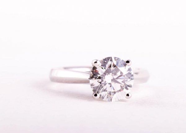 A custom made brilliant cut 2ct diamond engagement ring by Auckland jewellery designer Julian Bartrom Jewellery.
