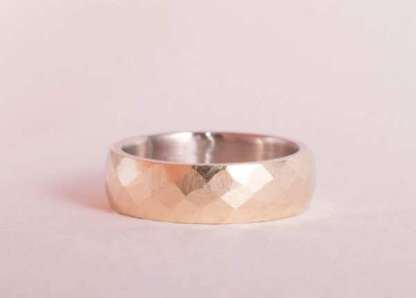 Rustic and rough gold men's hammered wedding ring in gold by Auckland jewellery designer Julian Bartrom Jewellery
