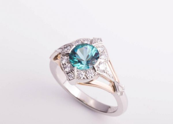 A brilliant cut blue tourmaline and diamond ring by Auckland jewellery designer Julian Bartrom Jewellery.