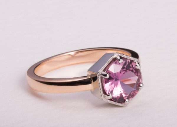 Brilliant cut pink sapphire ring in rose gold by award-winning Auckland jewellery designer Julian Bartrom Jewellery.